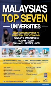 ANC Education – Meet Malaysia University Representatives on 13th January 2013
