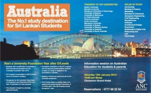 ANC Study in Srilanka and transfer to top Universities in Australia – Meets Officials on 12th January 2013