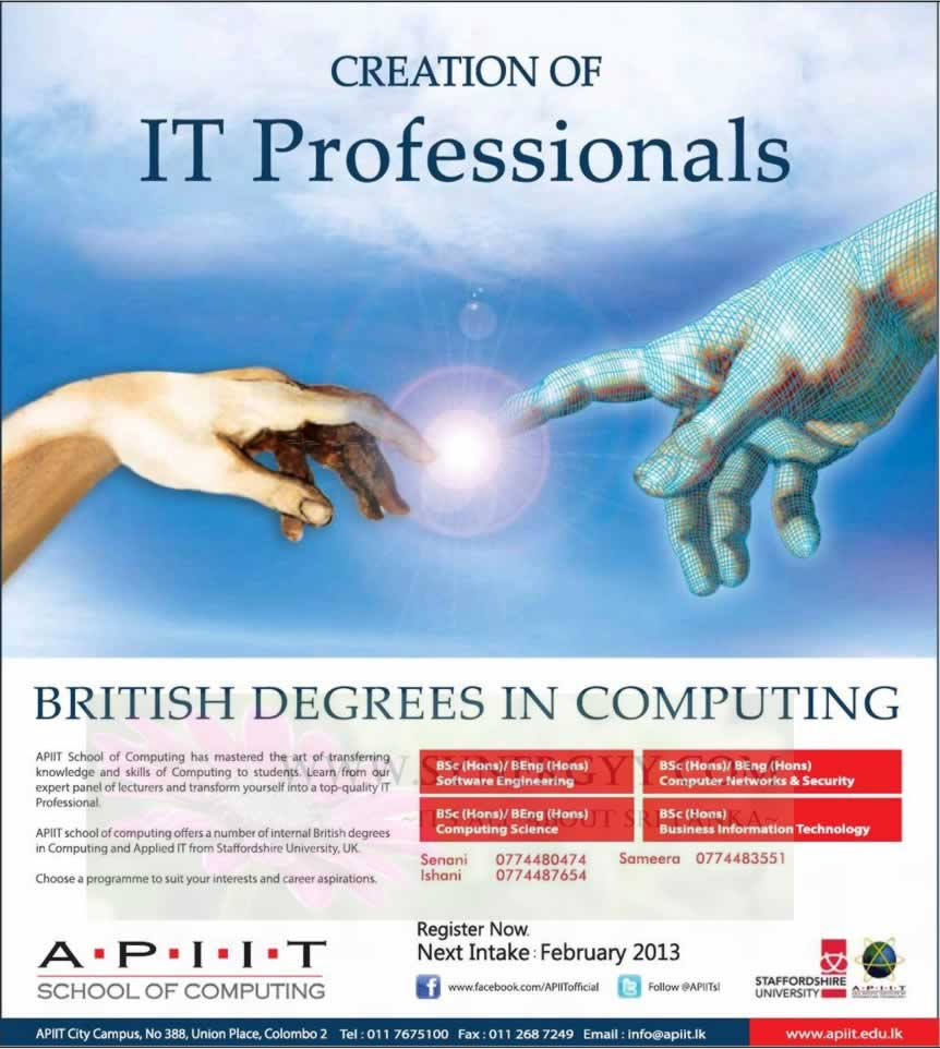 apiit it professional degree programmes new intakes  apiit it professional degree programmes new intakes 2013