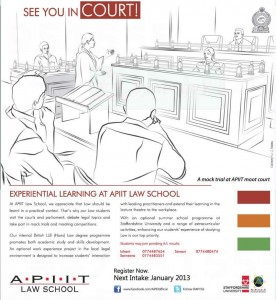 APIIT Law School – New Intakes in January 2013