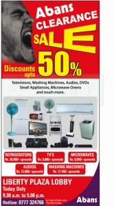 Abans 50% Clearance Sale Today Only (12th January 2013)