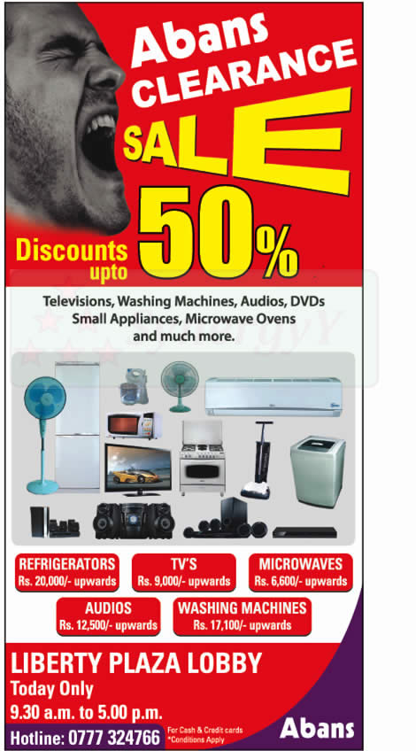 Abans 50 Clearance Sale Today Only 12th January 2013