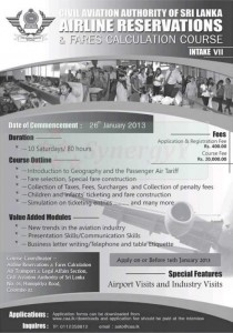 Airline Reservation & Fares Calculation course by Civil Aviation Authority of Srilanka – 26th January 2012