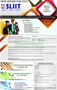 B.Sc in Information Technology – SLIIT New Intake 2013