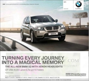 BMW X3 for USD 30,000 upwards for Permit Holders in Srilanka – January 2013