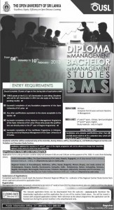 Bachelor of Management Studies (BMS) Degree of Open University of srilanka