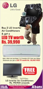 Buy 2 LG Inverter Air Conditioner & Get a LED TV Worth Rs. 39,990.00