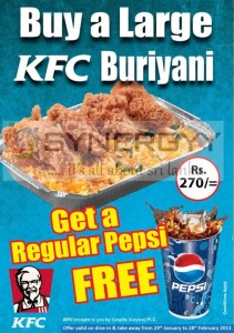 Buy a Large KFC Buriyani and get a regular Pepsi for FREE from 29th Jan to 28th Feb 2013