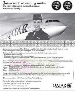 Cabin Crew Vacancy for Qatar Airways – (Females Only)