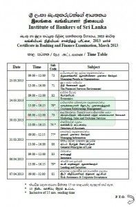 Certificate in Banking and Finance Examination, March 2013 Time Table