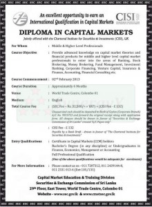 DIPLOMA IN CAPITAL MARKETS – Course by SEC Srilanka – Commence on 2nd February 2013