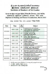 Diploma in Banking and Finance Examination, March 2013 Time Table