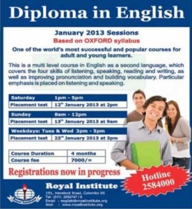 Diploma in English January 2013 – Royal Institute