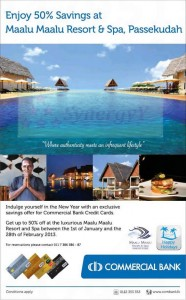 Enjoy 50% Savings at Maalu Maalu Resort b Spa, Passekudah for Commerical Bank Credit Card – 1st Jan to 28th Feb 2013