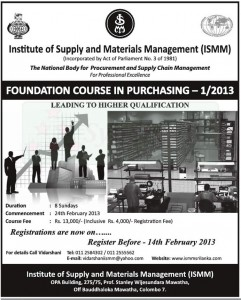 FOUNDATION COURSE IN PURCHASING - January2013 by Institute of Supply and Materials Management (ISMM)