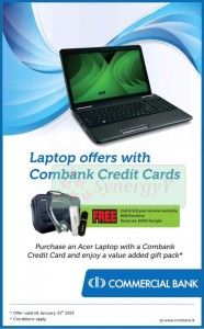 Free Service & Gifts for Acer laptop Purchases by Commercial Bank Credit card – till 31st January 2013