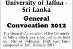 General Convocation 2012 will be on 28th February 2013 – University of Jaffna -Sri Lanka