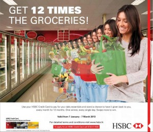 Get 12 times the Groceries by Using HSBC Credit Cards
