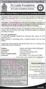 Higher National Diploma in Advance Counseling (HND AC) from Srilanka Foundation