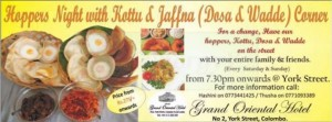 Hoppers Night with Kottu & Jaffna (Dosa & Wadde) Corner at grand oriental Hotel