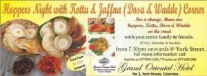 Hoppers Night with Kottu & Jaffna (Dosa & Wadde) Corner at grand oriental Hotel
