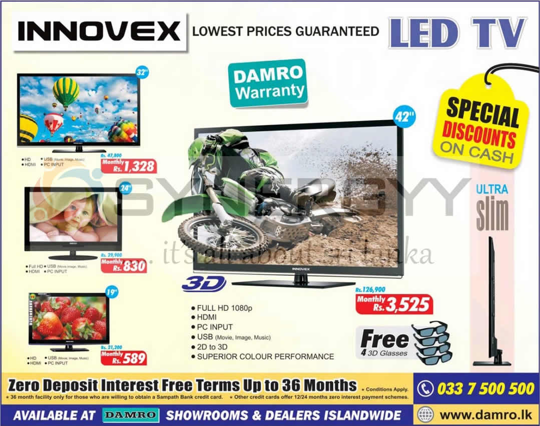 Innovex damro led tv from rs 21 200 onwards 171 synergyy