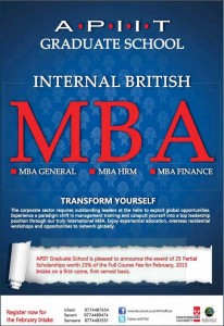 Internal British MBA from APIIT Srilanka – Partial Scholarships available for February 2013 Intakes