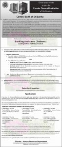 Job Vacancy at Central Bank - Banking Assistants (Trainees) - Apply on or before 20022013