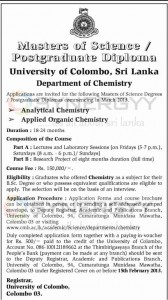M.Sc in Analytical Chemistry and M.Sc in Applied Organic Chemistry from University of Colombo - New Intakes for 2013