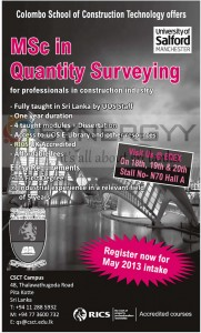 M.sc in Quantity Surveying by Colombo School of Construction Technology – New Intake for May 2013