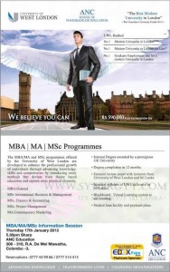 MBA, MA, MSc Degree Programme from ANC
