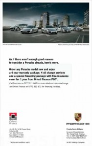 Porsche Centre Srilanka Offer 4 Years Warranty Package