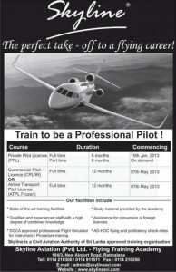 Professional Pilot Programme in Srilanka by Skyline in Srilanka – New Intakes 15th January 2013