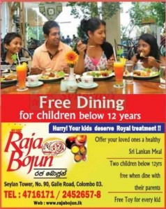 Raja Bojun – Free Dining for Children below 12 Years