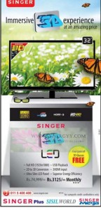 "Singer 32"" 3D LED TV for Rs. 74,999.00 – January 2013"