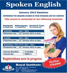 Spoken English New Intakes January 2013 – Royal Institute