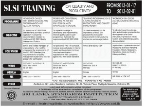 Sri Lanka Standard Institute (SLSI) Programmes for January 2013