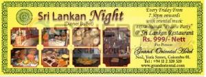 Srilanka Night (Dinner Buffet) at Grand Oriental Hotel