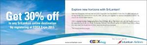 Srilankan airline 30% off at EDEX Expo 2013