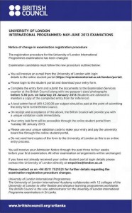 University of London International programmes May – June 2013 Examination changes in Registration procedures.