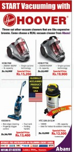 Hoover Vacuum Cleaner Special Sale from Abans- January 2013