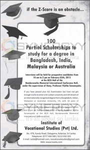 100 Partial Scholarships to study for a degree in Bangladesh, India, Malaysia or Australia by Institute of Vocational studies