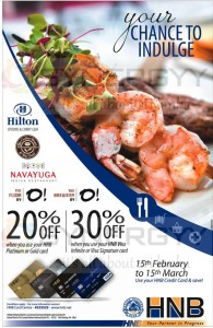 20% to 30% Off for HNB Credit Card Offer at Hilton, The Coffee Bean and Nava Yuga