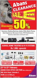 Abans Clearance Sale Discounts up to50% - 22nd and 23rd February 2013
