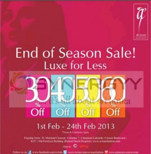 Avirate End of Season Sales 30% to 60% off from 1st to 24th February 2013