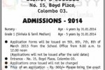 Bishop's College Nursery and Grade 1 admission for 2016