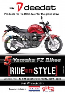 Buy Deedat Branded Products at Nolimit or Glits and stand a chance to win Yamaha FZ Bikes