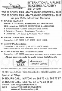 Cabin Crew Courses in Sri Lanka by International Airline Ticketing Academy