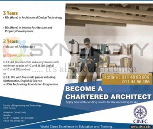 Chartered Architect and Architectural degree Programme from CINEC – February 2013