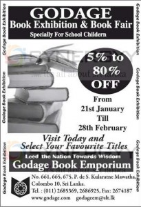 Godage Book Exhibition & Book Fair from 21st January to 28th February 2013
